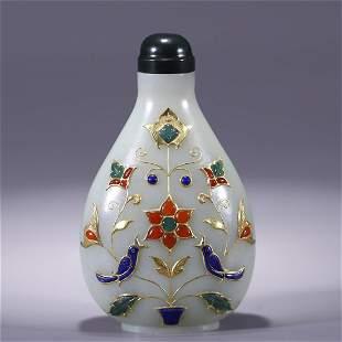 Hetian Jade Snuff Bottle with Gold