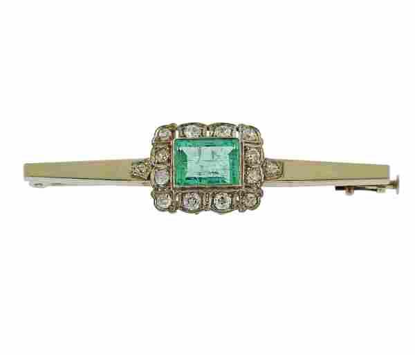 Antique 18k Gold Emerald Diamond Brooch Pin