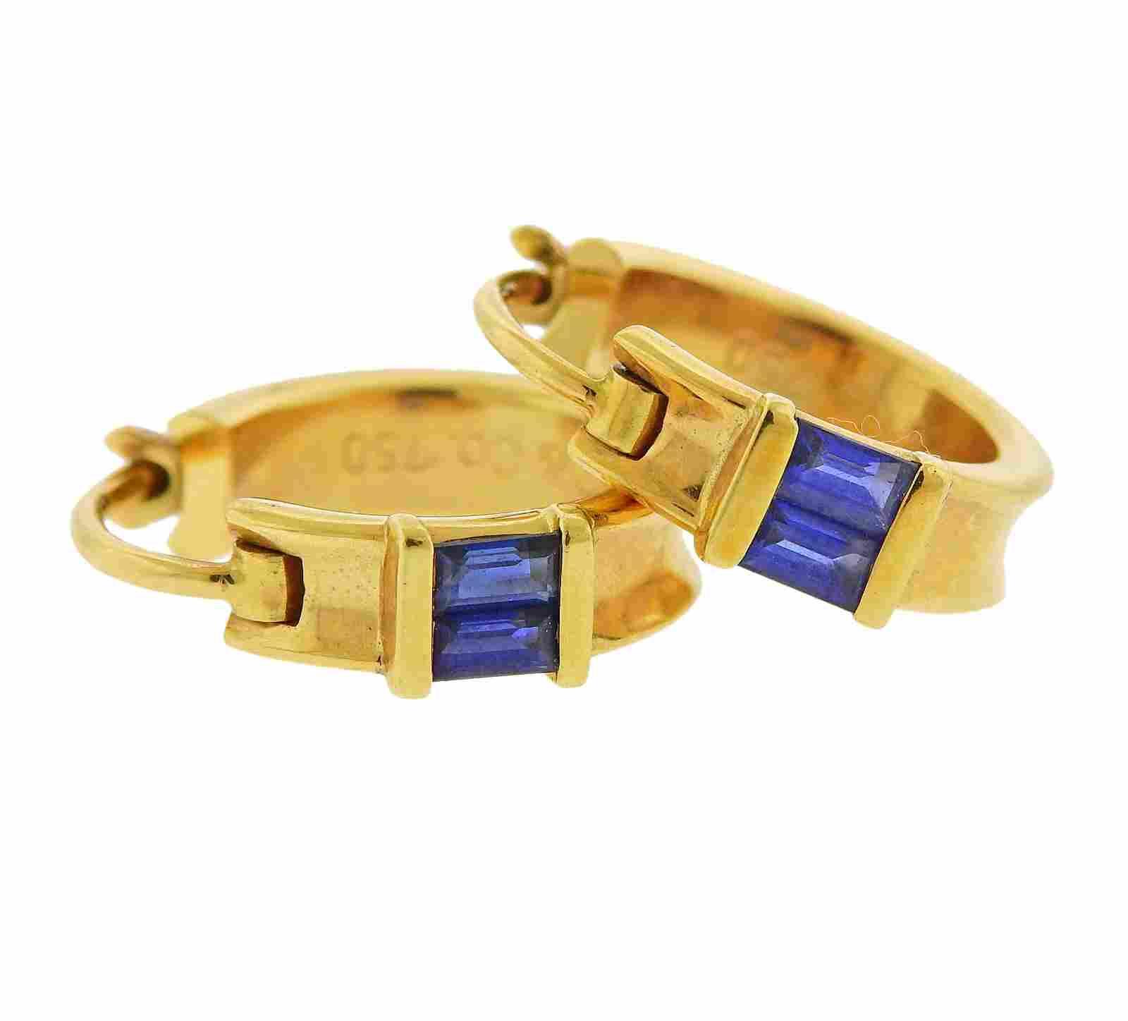 Tiffany & Co 18k Gold Sapphire Hoop Earrings