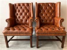 Mid Century Pair Terra Cotta Leather Library Chairs