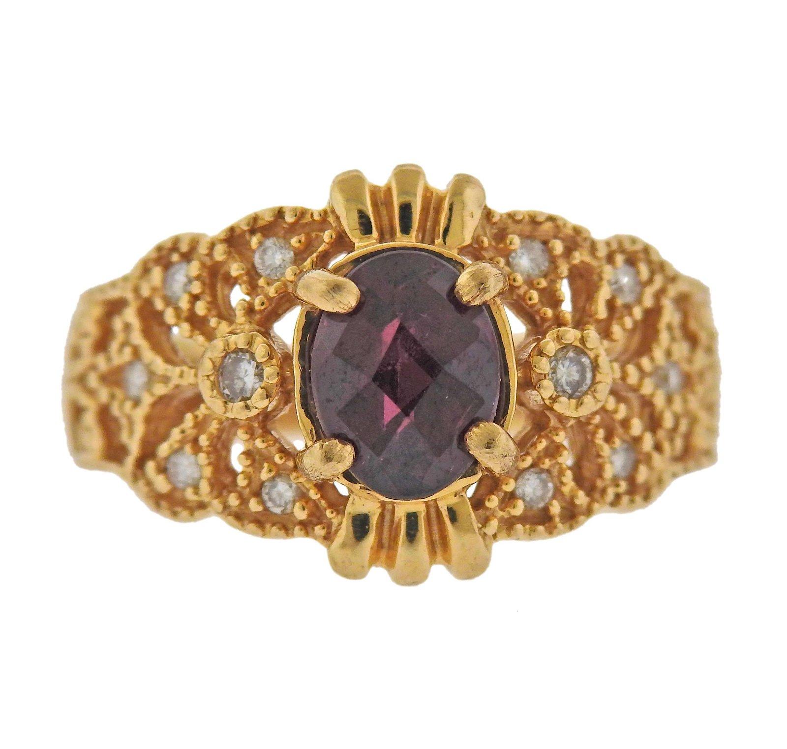 14k Gold Diamond Garnet RIng