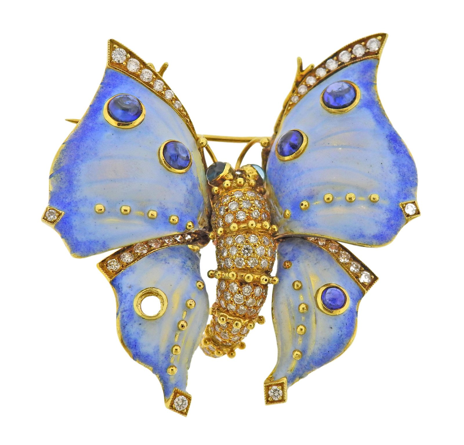 18k Gold Diamond Sapphire Enamel Butterfly Brooch Pin