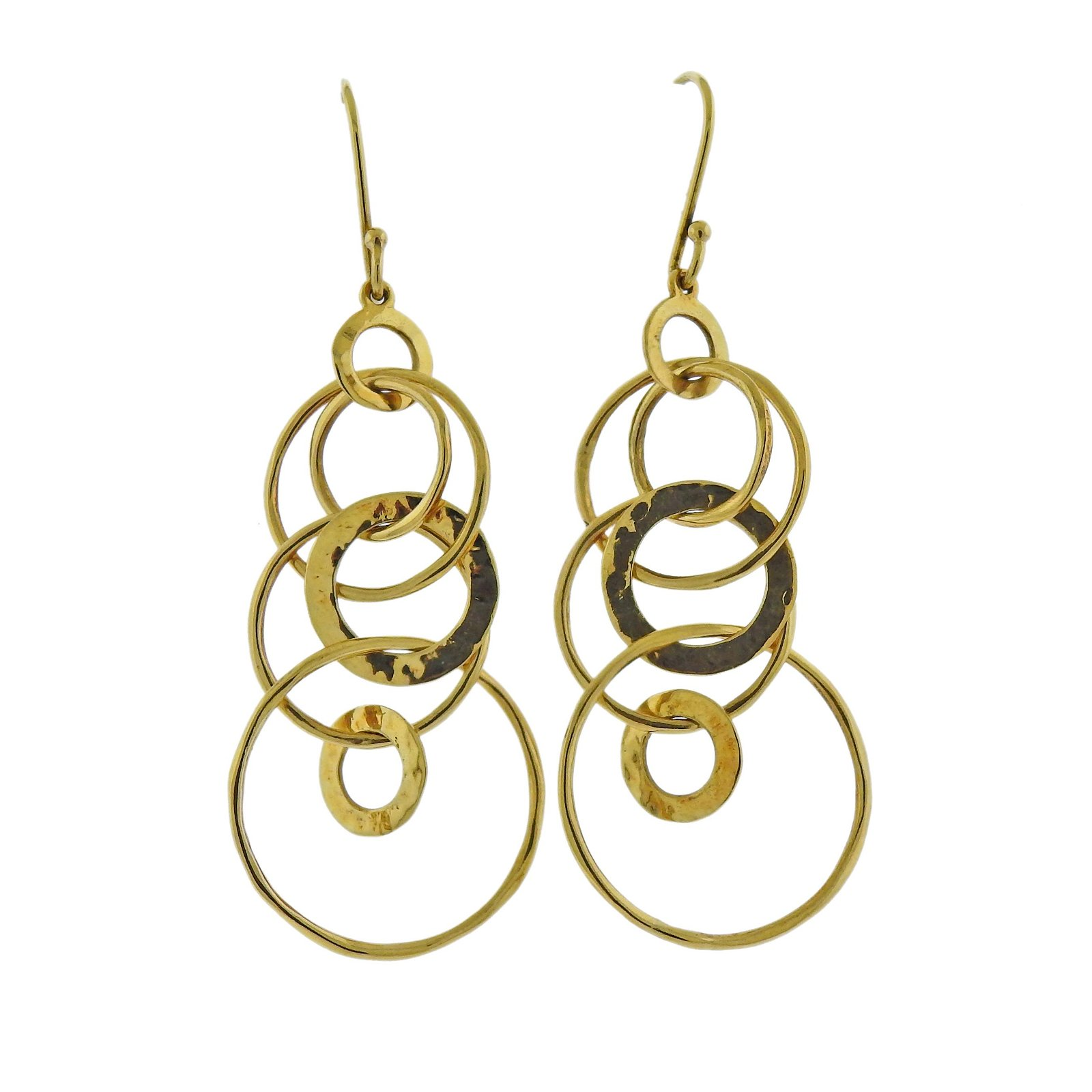 Ippolita 18k Gold Mini Hammered Jet Set Drop Earrings