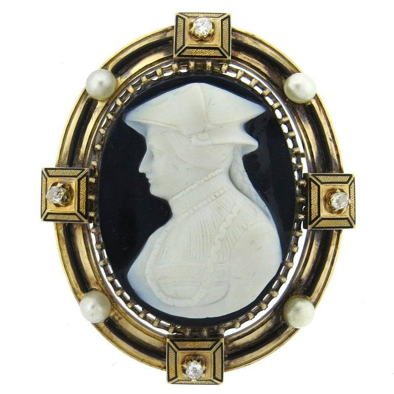 Fine Antique Gold Natural Pearl Hardstone Cameo Diamond