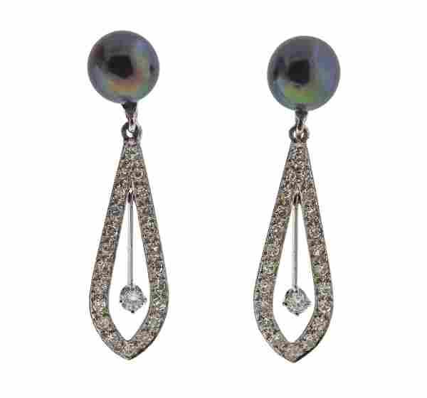 14k Gold Black Pearl Diamond Drop Earrings