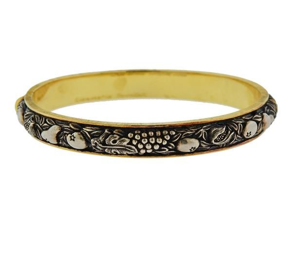 Buccellati Brunito 18k Gold Silver Bangle Bracelet