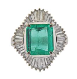 Platinum 3.23ct Emerald Diamond Cocktail Ring