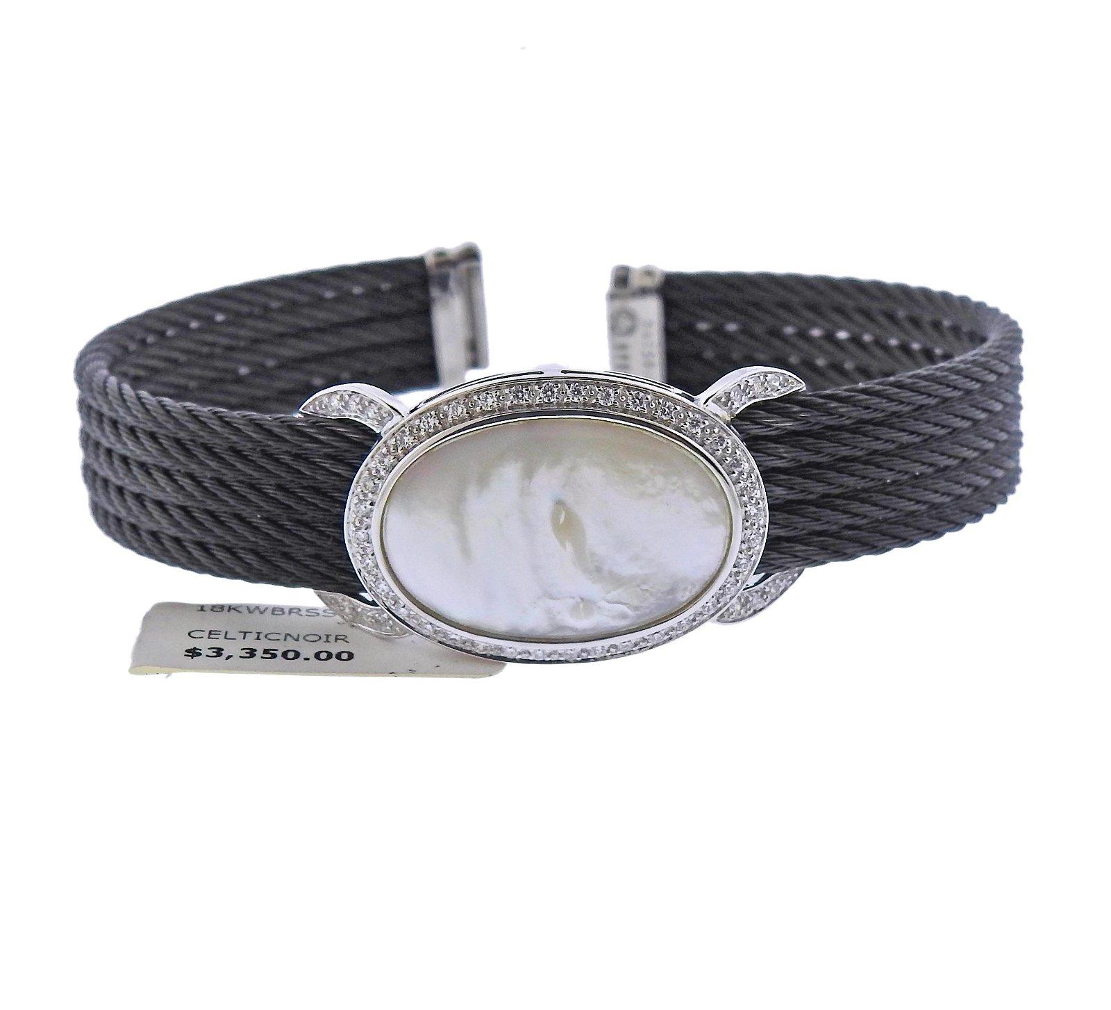 Charriol 18k Gold Steel MOP Diamond Bracelet