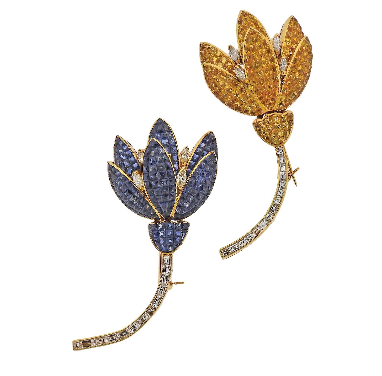 18k Gold Yellow Blue Invisible Set Sapphire Diamond