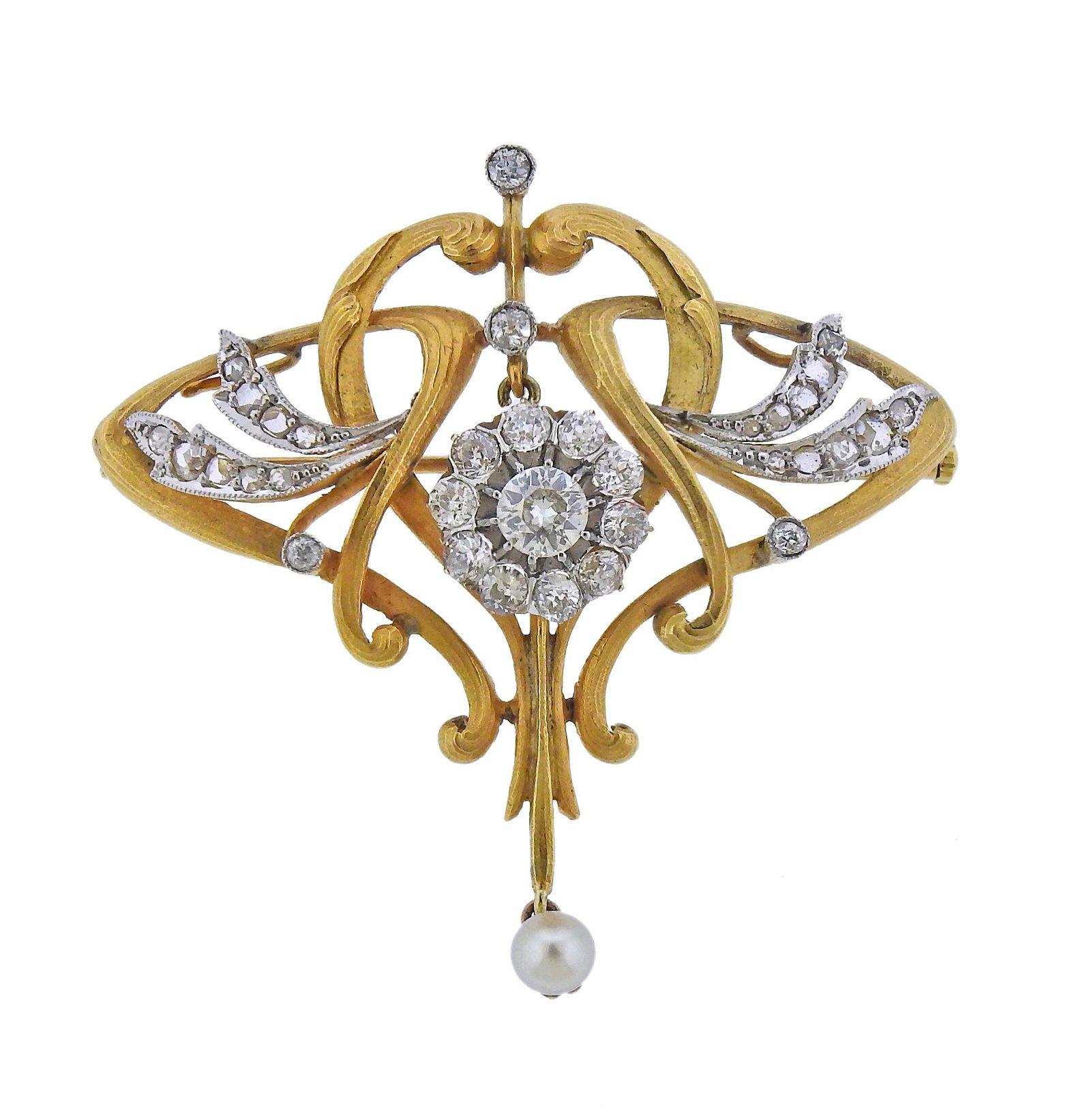 Antique Art Nouveau 18k Gold Diamond Pearl Brooch