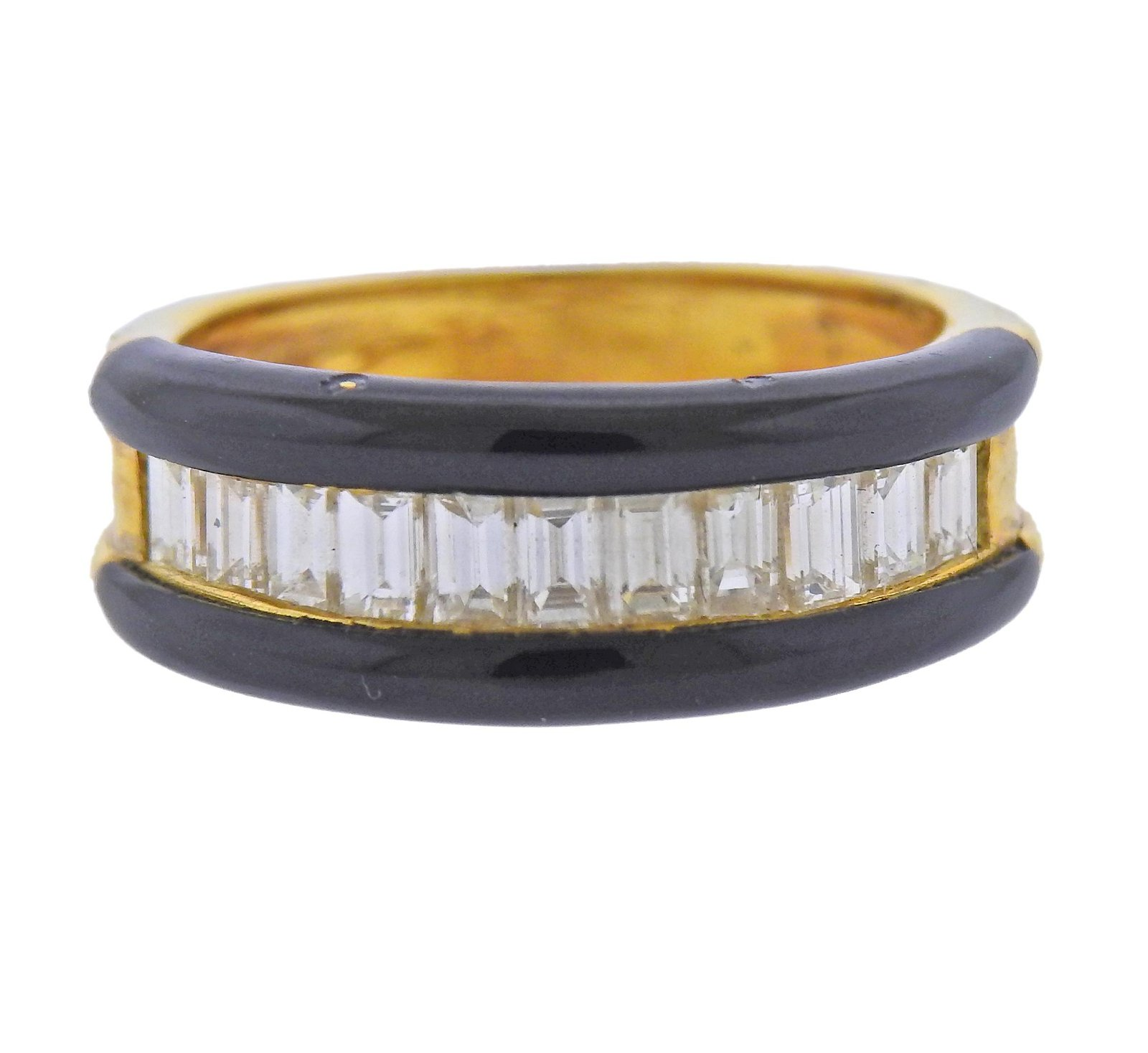 18k Gold Diamond Enamel Ring