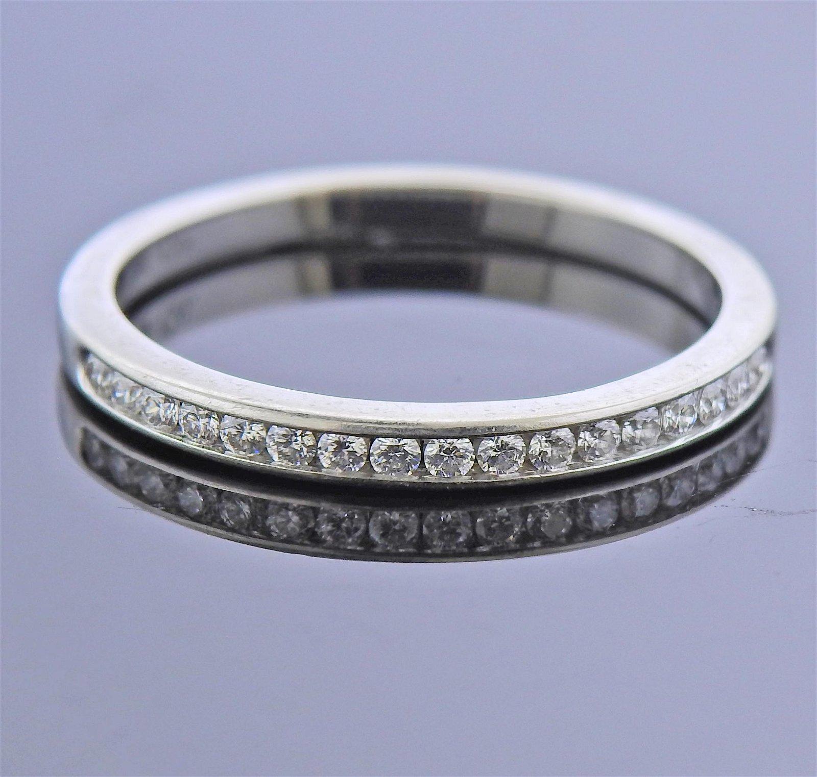 Tiffany & Co Platinum Diamond Wedding Band Ring