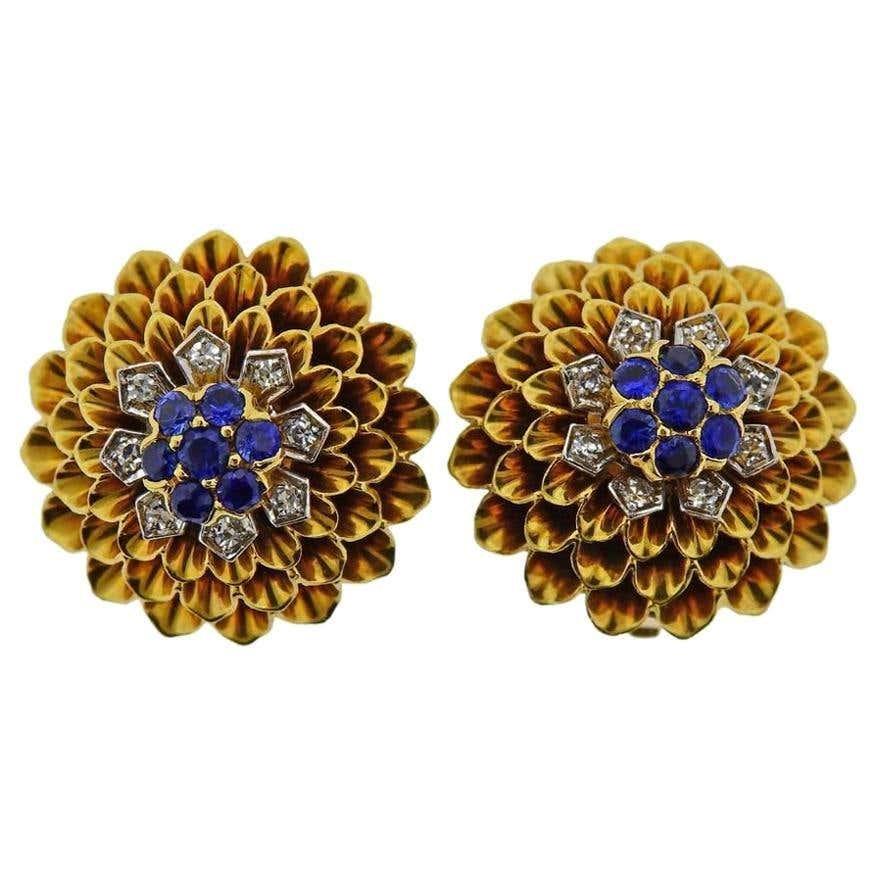 Tiffany & Co 18k Gold Diamond Sapphire Earrings