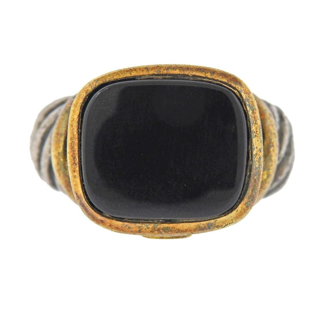 David Yurman Albion Gold Silver Onyx Ring