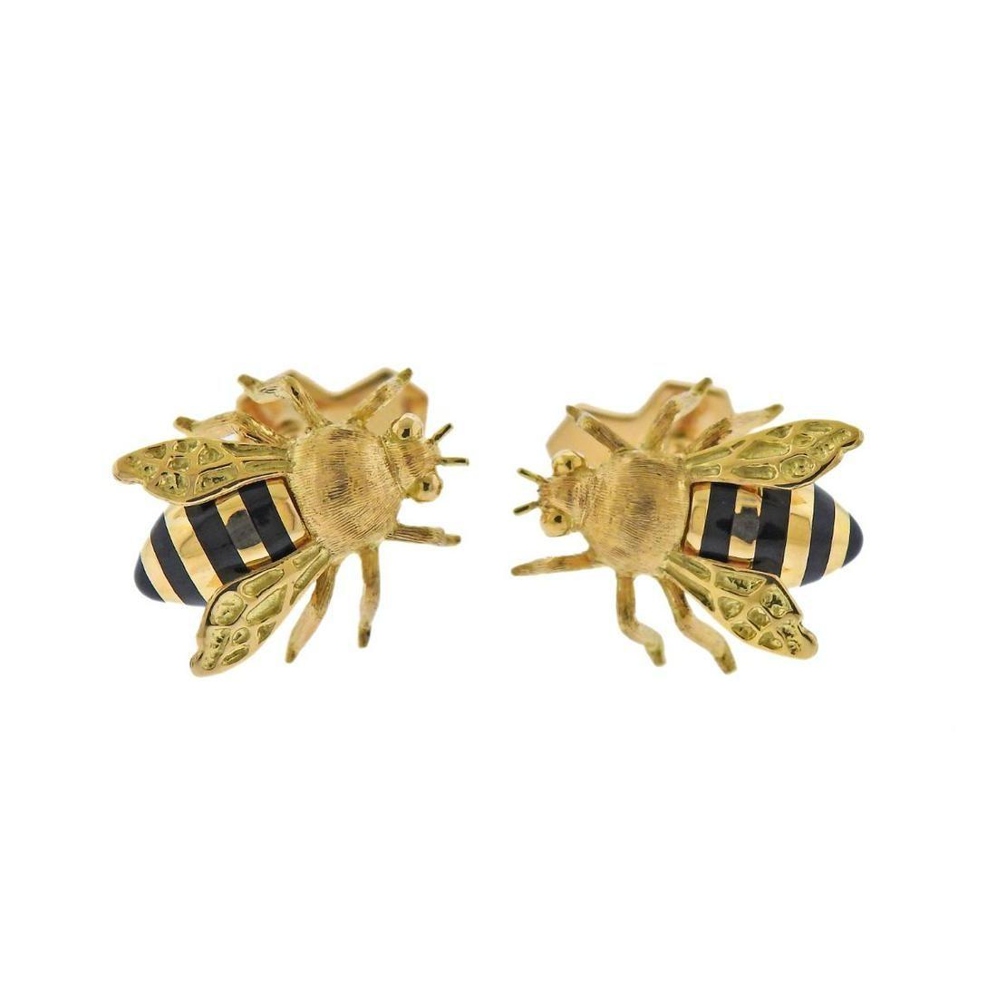 Verdura 18k Gold Enamel Bee Cufflinks