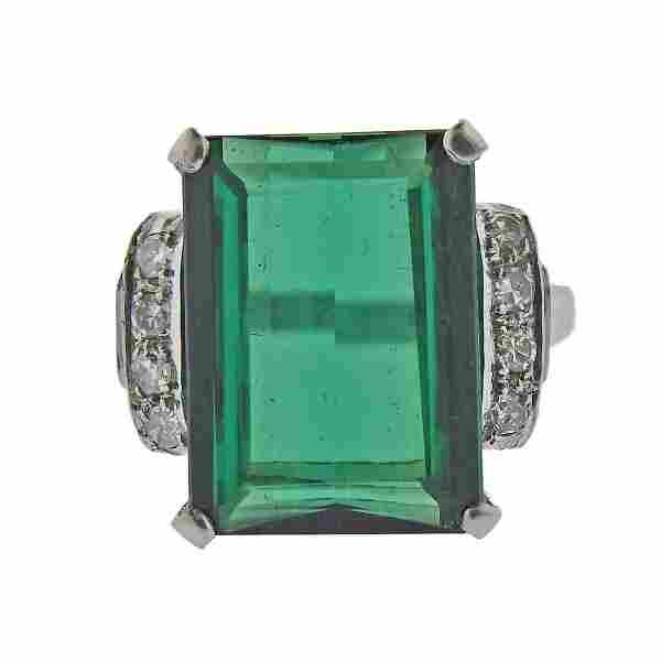 Platinum 7.08ct Green Tourmaline Diamond Ring