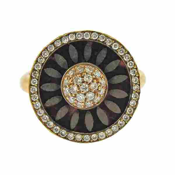 La Nouvelle Bague 18k Gold Diamond Enamel RIng