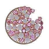 Giovanni Ferraris 18k Rose Gold Coral Sapphire Diamond