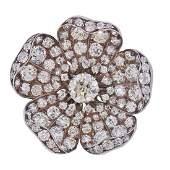 1230 Carat Old Mine Cushion Diamond Gold Silver Flower