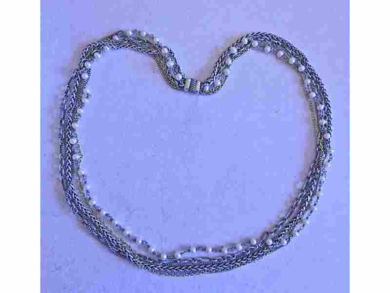 David Yurman 18k Gold Silver Pearl Multi Chain Necklace