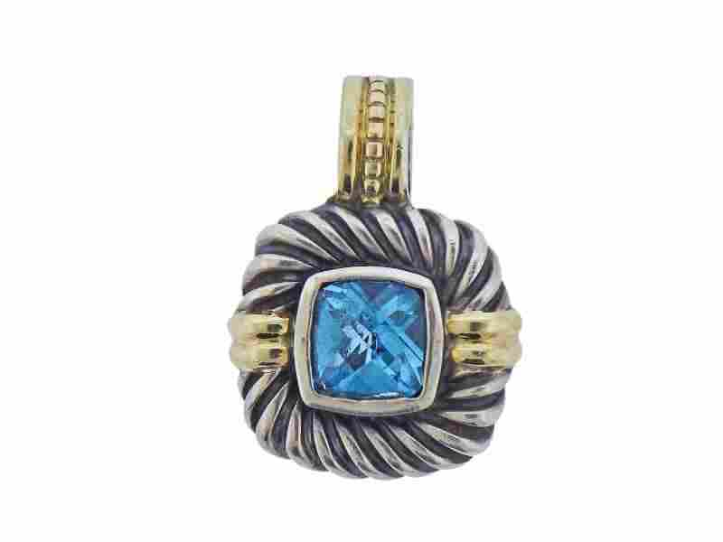 David Yurman Silver 14k Gold Blue Topaz Pendant
