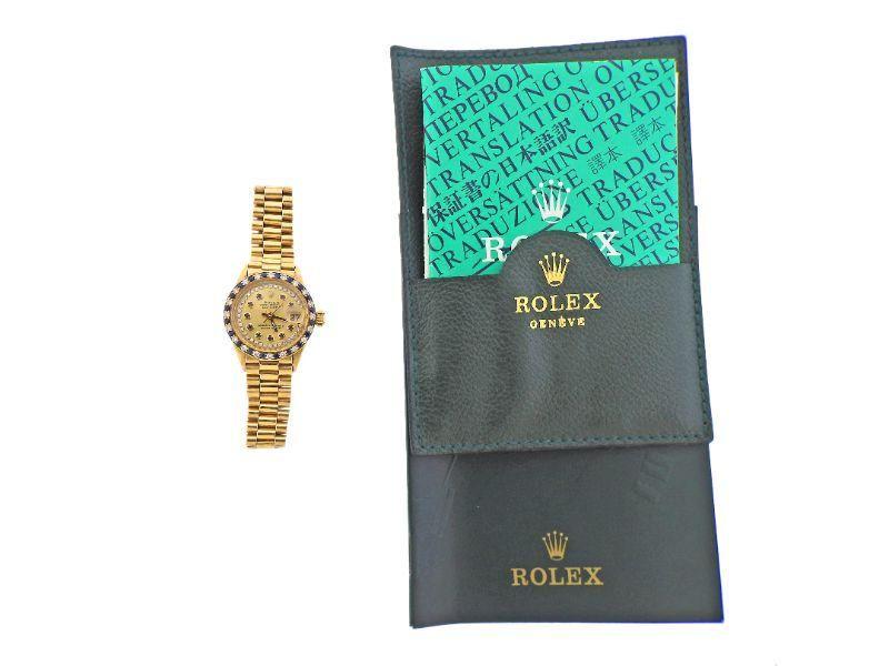 Rolex President 18k Gold Diamond Sapphire Ladies Watch