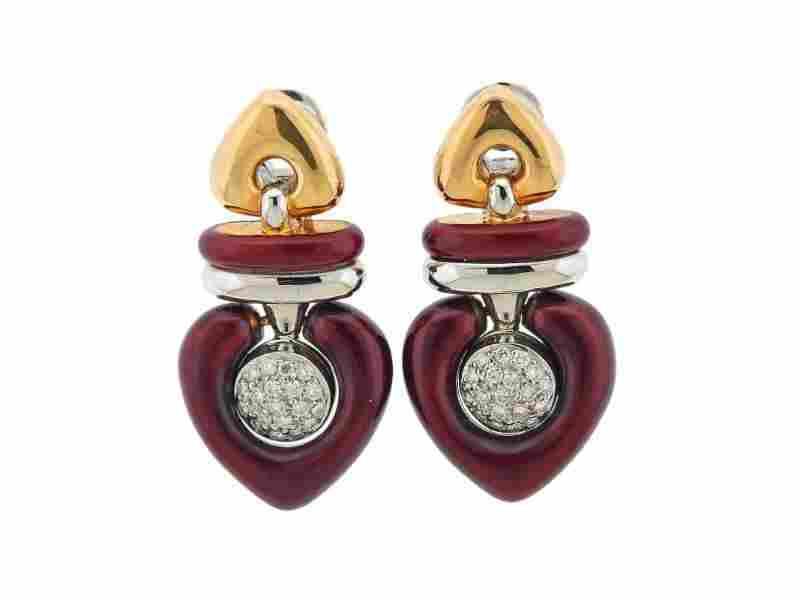 La Nouvelle Bague Gold Diamond Enamel Earrings