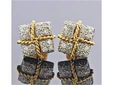 Verdura 18k Gold Diamond Stud Earrings
