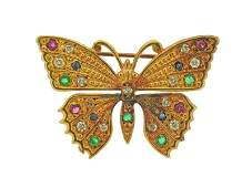 14k Gold Diamond Emerald Ruby Sapphire Butterfly