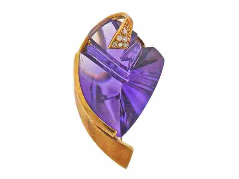 14k Gold Amethyst Diamond Brooch Pendant