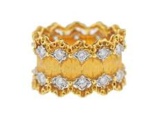 Buccellati 18k Gold Diamond Wide Band Ring