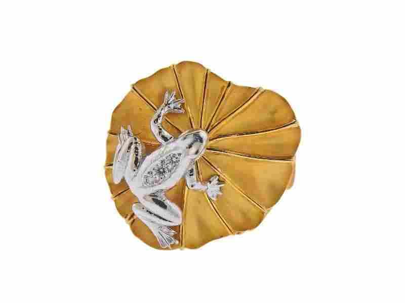 Carrera Y Carrera 18k Gold Diamond Frog Ring