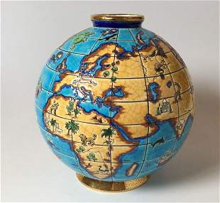 Emaux De Lowgway Mappemonde Globe Vase