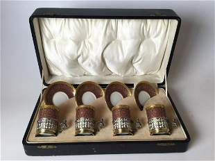 Set of 4 Limoges Demi Cups & Saucers with Sterling