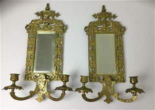 Pair Mirror & Brass Sconces