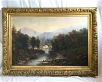 Large Paul Ritter Oil on Canvas Landscape Hudson River