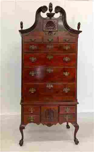1880s Mahogany Chippendale Style Highboy with Flame