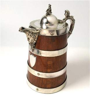 Antique English Oak and Silver Plate Tankard