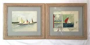 Pair of Watercolors Painted by Katherine Hepburn in