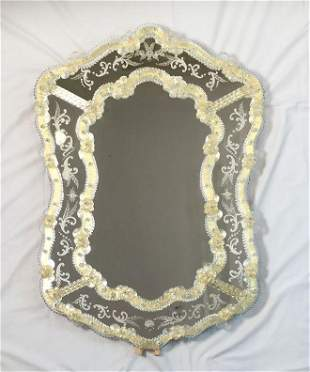 Beautiful Etched And Gold Venetian Mirror Made In Italy