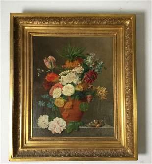 Floral Oil on Canvas Signed H E Castro