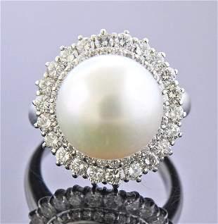 Platinum Diamond South Sea Pearl Cocktail Ring