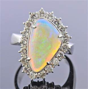 Platinum Diamond Opal Ring