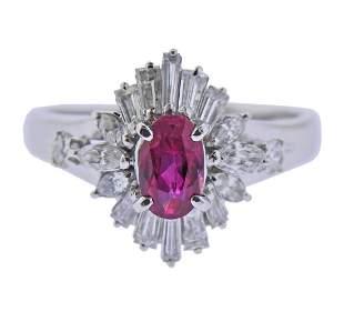 Platinum No Heat Ruby Diamond Ring