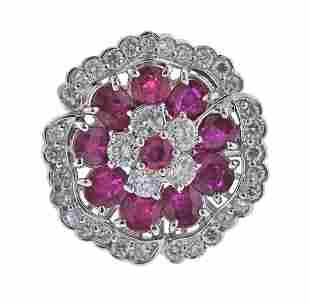 Platinum Ruby Diamond Cocktail Ring