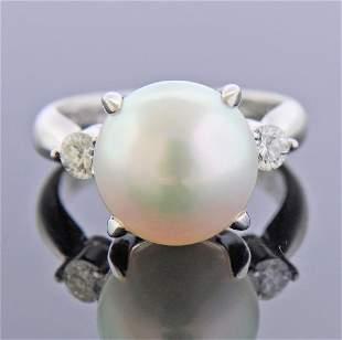 Platinum Diamond South Sea Pearl Ring