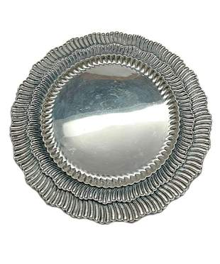 Buccellati Linenfold 24 Sterling Silver Charger Plates