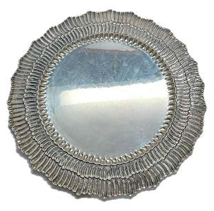 Pair Buccellati Linenfold Sterling Silver Round Serving