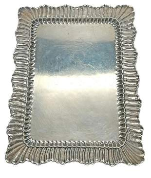 Buccellati Linenfold Sterling Silver Serving Tray