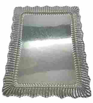 Buccellati Linenfold Sterling Silver Large Serving Tray